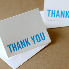 Thank You Cards, Letterpress : Modern Block Thank You Notes, True Blue - box of 25 small folded cards, personalized envelope color choice