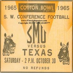 SMU Mustangs Football Gifts,  Ceramic drink coasters printed in the U.S.A. and shipped within 24 hours. Made from over 2,000 historic college football tickets. Best last minute Father's Day gifts.