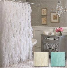 Cascade Ruffle Shower Curtain with Semi-Sheer Waterfall Ruffles - Eleanor Brown Boutique Shabby Chic Bedrooms, Shabby Chic Homes, Shabby Chic Decor, Lace Shower Curtains, Bathroom Shower Curtains, Ruffled Curtains, Rideaux Shabby Chic, White Shower, Shabby Chic Kitchen