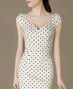 Fashion Cute Polka Dot Dress Perfect Curved Elegant Formal Dress Fresh Ladies Fitted Evening Dress Puff sleeves Plus Size available Elegant Dresses, Cute Dresses, Beautiful Dresses, Vintage Dresses, Casual Dresses, Short Dresses, Mode Outfits, Dress Outfits, Fashion Dresses