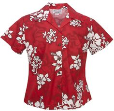 White Hibiscus Ladies Fitted Hawaiian Aloha Shirt in Red
