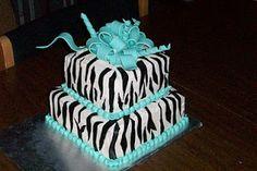 Zebra Stripe cake, teal bow