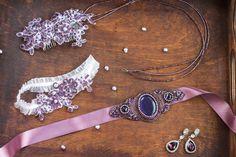 Wedding accesories set, bridal belt, lilac, purple,  embroidery, Bridal Hair Accessory, Bridal Headpiece, Wedding headpiece, wedding garter by Leteria on Etsy