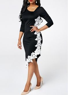 4f86a8015550 Asymmetric Hem Long Sleeve Bodycon Dress