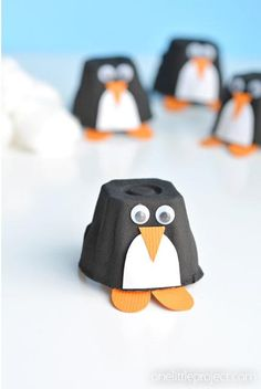 Cut egg carton sections apart to create the cutest. penguins. ever. Use cotton balls to create a icy environment for play time.