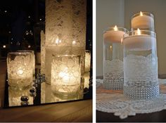 DIY (Faça você mesmo): Vasos ou potes de vidro com renda e Inspirações! Christmas Table Decorations, Wedding Decorations, Christmas Ideas, Wall Lights, Ceiling Lights, Palette, Butterfly Crafts, Bottle Art, Cozy House