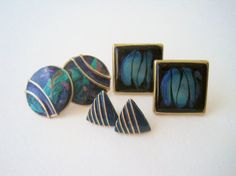 Vintage Geometric Marbled Earring Set by Floralecstacy on Etsy, $5.25