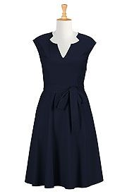 Notch neck cotton poplin dress from eShakti on discounted prices using coupon and promo codes.