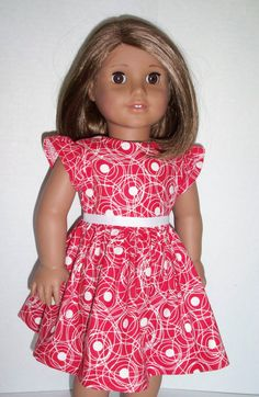 Pretty Red and White Dress American Girl Doll by Dearmissfit, $16.75