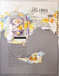 Est.1893...a layout by Emma Trout using lots of Webster's Pages papers, mini bag and trim.