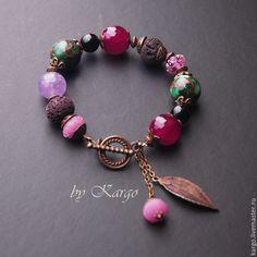 Bracelet by Kargo. Купить Браслет Дикая ягода - браслет, агат, подарок, аметист, крупный браслет, вулканическая лава