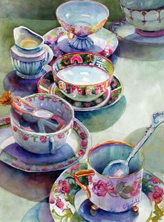 I Love teacups, all kinds.  My Mom always liked to use them when we invited the ladies from Church to our home for lunch or brunch.  We would do the table with different beautiful cups and saucers.  I miss those times with my beautiful Mother., but one day I'll see her again in heaven.