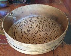 Antique primitive wooden flour sifter/sieve with leather strainer, European…