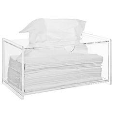 Amazon.com - Modern Clear Acrylic Bathroom Facial Tissue Dispenser Box Cover / Decorative Napkin Holder - MyGift® Home -