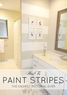 How to paint stripes and a $200 bathroom makeover! This is great!