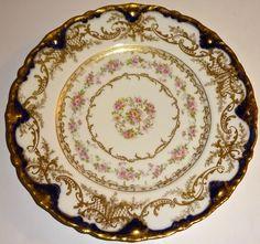 """ANTIQUE Haviland LIMOGES Porcelain HAND PAINTED COBALT BLUE & GOLD 9"""" PLATE #1!"""
