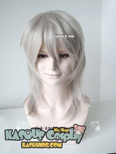 [ Kasou Wig ] Touken Ranbu 刀剣乱舞 Tsurumaru Kuninaga 45cm long warm gray cosplay wig with layers