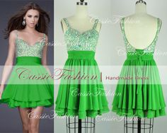 Women Short Mini Straps Backless Beading Chiffon Cocktail Dress, Party Dress, Prom Dress, Evening Dress,Dance Dress #EasyNip