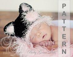 Baby Hat Crochet PATTERN Newborn Hat Black Cat por BabyGraceHats