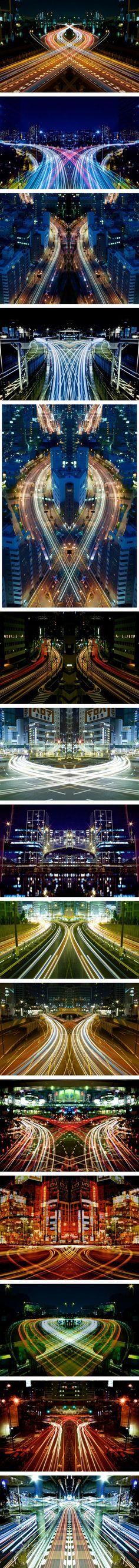 """Graffiti of Speed"" Symmetric Long Exposure Photography by Shinichi Higashi"