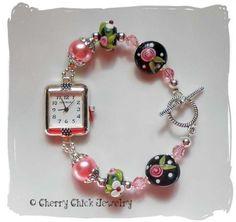 #Pink #CottageRose #BeadedWatch  #CherryChick #LampworkGlass
