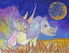 Rhinos in the Full Moon- Water colors and pen