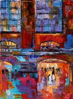 "Daily Painters Abstract Gallery: Cityscape New York City Grand Central Abstract Urban Paintings Fine Art Painting ""Grand Central"" by Debra Hurd"