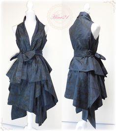 着物リメイク◆大島紬◆イレギュラーヘムラインのボリュームスカートとフリースタイルベストセット(紺に少し深緑)