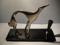 Italy Art Deco Polished Metal Hunter Dog Pen Holder – Designer Unique Finds