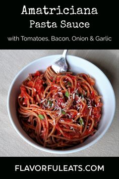 Skip the jar and make Amatriciana Pasta Sauce from scratch. This Italian favorite with bacon, onions, and garlic is sure to be a new family favorite for pasta night! Pork Recipes, Real Food Recipes, Great Recipes, Favorite Recipes, Delicious Recipes, Pasta Amatriciana, Pork Dishes, Everyday Food, Diy Food
