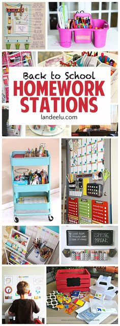 Back to School Homework Stations I love these ideas to get the kids motivated to do homework when they head back to school!I love these ideas to get the kids motivated to do homework when they head back to school! Back To School Organization, Organization Station, Craft Organization, Kids Homework Organization, Homework Station Diy, Do Homework, Kids Homework Area, Homework Center, Back To School Hacks
