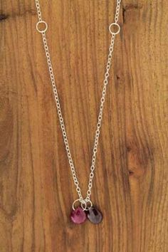 Ruby and Garnet Silver Necklace - 16 Inches