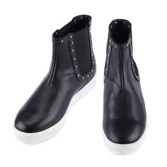 Elevator Boots - Upper in studded full grain leather, insole and midsole in genuine leather, dual elastic silk panel for an easy, comfortable fit. Hand Made in Italy.