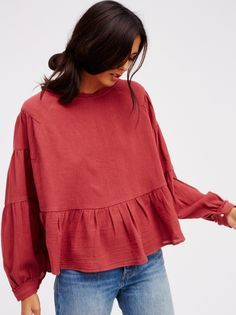 Vintage Cotton top :: features puffed sleeves and a cute peplum silhouette :: Unfinished edges around the neckline and sleeve cuffs for a lived-in look.