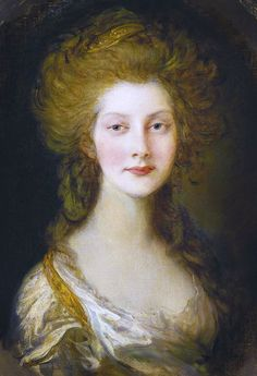 """""""Princess Augusta of Great Britain, Ireland, and Hanover"""" -- by Thomas Gainsborough (British, 1727–1788).  Born Princess Augusta Sophia, she was the sixth child and second daughter of King George III and Queen Charlotte."""