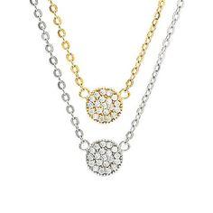 Mini Pave Disc Necklace