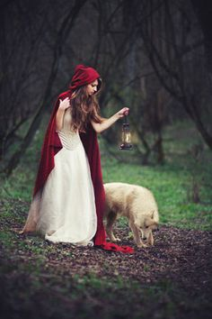 Little Red Riding Hood and her wolf I'm looking at the red cap contrasting the wooded area. Red/white on red vs. the brown and green in the wood Fuchs Illustration, Estilo Tim Burton, Red Ridding Hood, Fantasy Photography, Red Hood, Little Red, Oeuvre D'art, Fairy Tales, Halloween Costumes