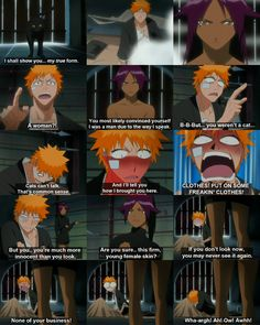 Puhahaha!! This was a hilarious scene!! Yoruichi almost gave Ichigo two massive heart attacks!lol N I mean who would have imagined she was a woman?? Hahaha, only in anime! Anime is the greatest!