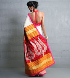 Beige And Orange Net Saree With Aari Work  #Paramparik #Sarees #ShadesSarees