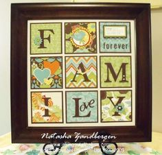 so easy to do.  dollar store frame. scrapbook paper squares with a back matt. vynal letters cut on cricut.