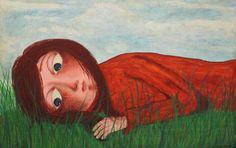 Mujer pensativa acrílico sobre madera cuadro por LaninetteArt