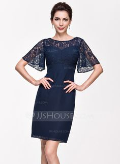 [US$ 96.99] Sheath/Column Scoop Neck Knee-Length Chiffon Cocktail Dress (016065513)