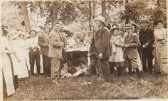 "Crooked Creek Church was prospering 100 years ago. This photo was taken in May 1911 - ""dinner on the grounds"" - a tradition which may have been the forerunner of the Old Settlers Reunion across the road.Crooked Creek Primitive Baptist Church  Iola, Oskaloosa township, Clay county, Illinois"