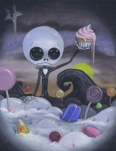 Lowbrow Sugar Fueled Nightmare Candyland Jack Skeleton creepy cute big eye art print