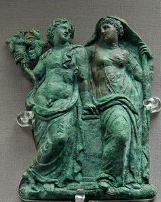 Dionysos and Ariadne, bronze relief from a hydria Greek, ca. 325–300 BC.