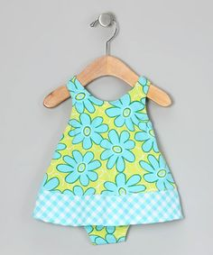 Aqua & Yellow Floral One-Piece - Infant ~$12.99 by 'Sweet Potatoes'