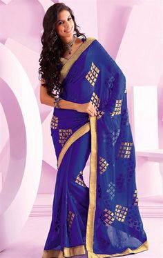 Picture of Beautiful Blue Indian Party Wear Saree