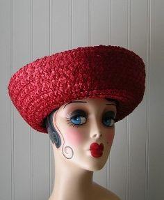 vintage red hats | Vintage Red Boater Style Raffia Hat