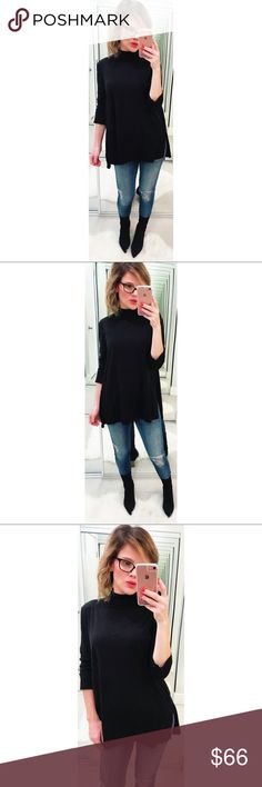 Michael Stars Black Mock Neck Tunic A soft mock neck tunic, featuring a high-low hem with side slits. New with tags. Approximately 31in from shoulder to hem One size fits most 100% supima cotton Made in USA 💕Offers welcome on single items and on bundles. Take 20% off your bundles automatically at check out. Happy Poshing!💕 Michael Stars Tops Tunics