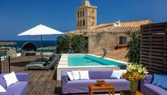 The pool terrace at Palacio Bardaji in Ibiza's historic center #DaltVila. For rent and for sale #ibizainteriors #poolterrace